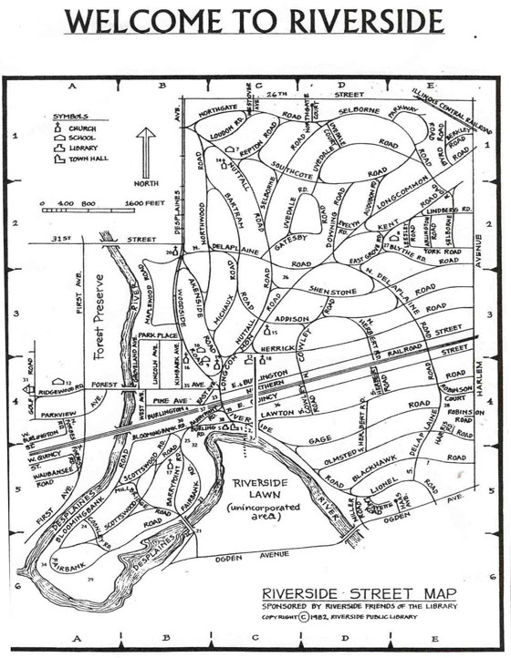 Riverside Street Map, sponsored by Riverside Friends of the Library (c) 1982 Riverside Public Library